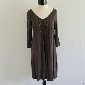 EILEEN FISHER cobblestone brown tunic dress